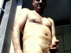 Gay Daddy Risky Wank On Balcony